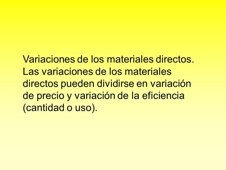 Variaciones de los materiales directos