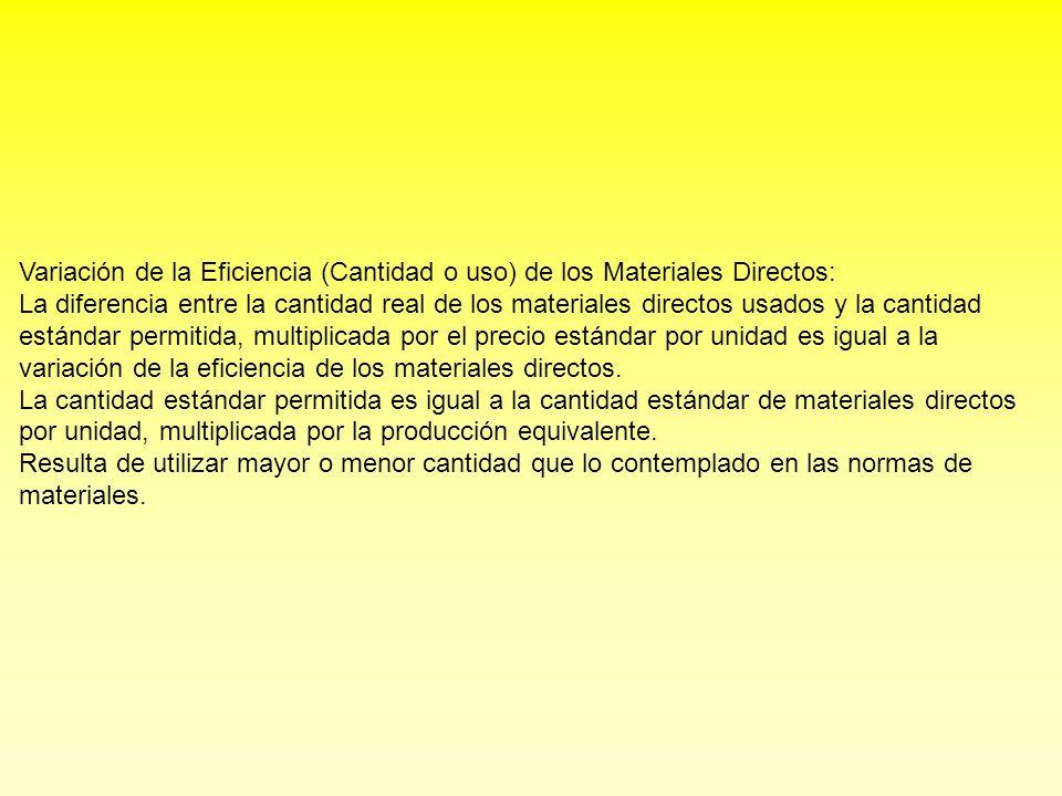 Variación de la Eficiencia (Cantidad o uso) de los Materiales Directos: La diferencia entre la cantidad real de los materiales directos usados y la cantidad estándar permitida, multiplicada por el precio estándar por unidad es igual a la variación de la eficiencia de los materiales directos.