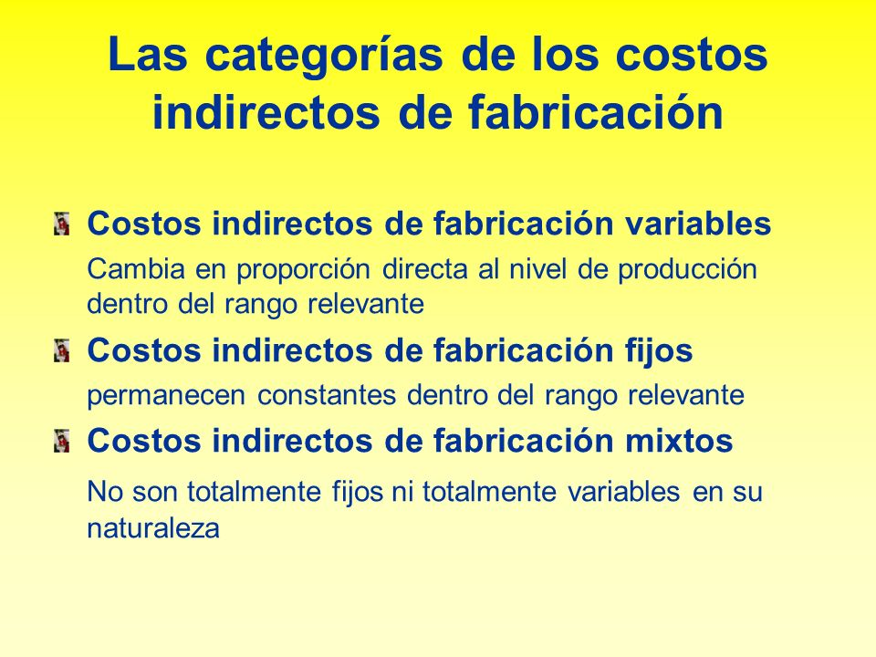 Las categorías de los costos indirectos de fabricación