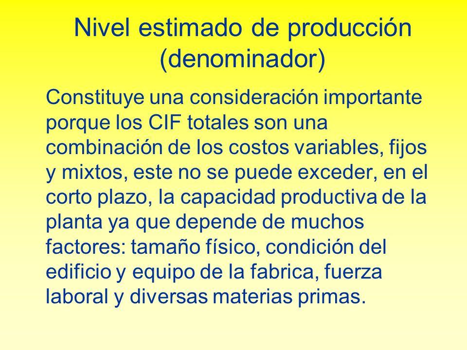 Nivel estimado de producción (denominador)