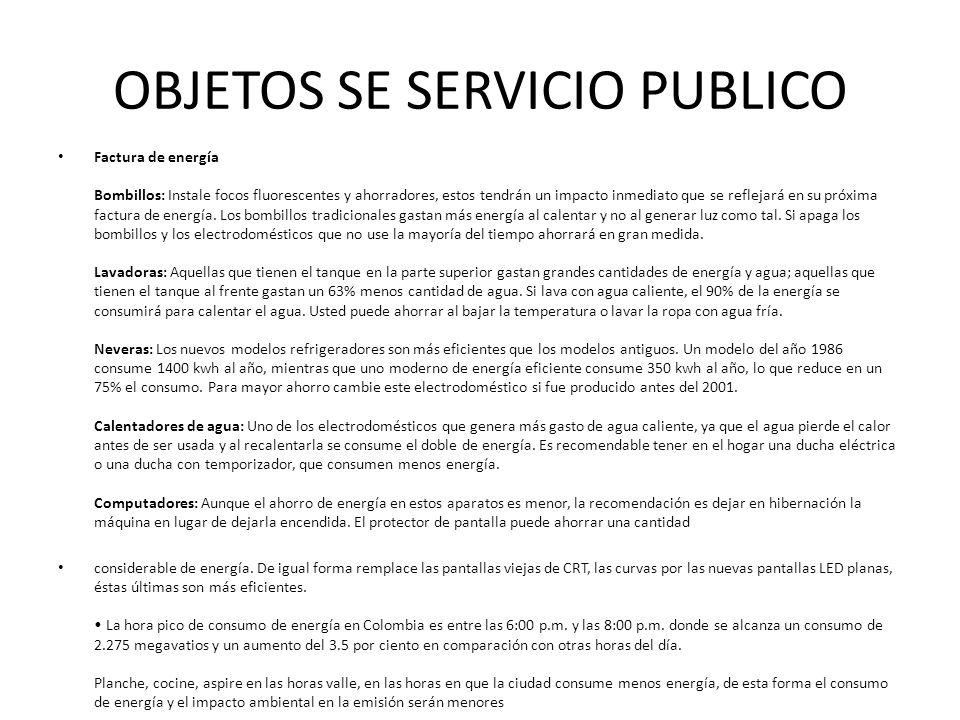 OBJETOS SE SERVICIO PUBLICO