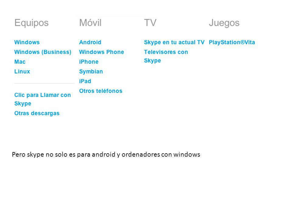 Pero skype no solo es para android y ordenadores con windows