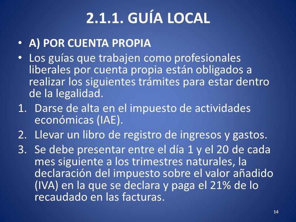 2.1.1. GUÍA LOCAL A) POR CUENTA PROPIA