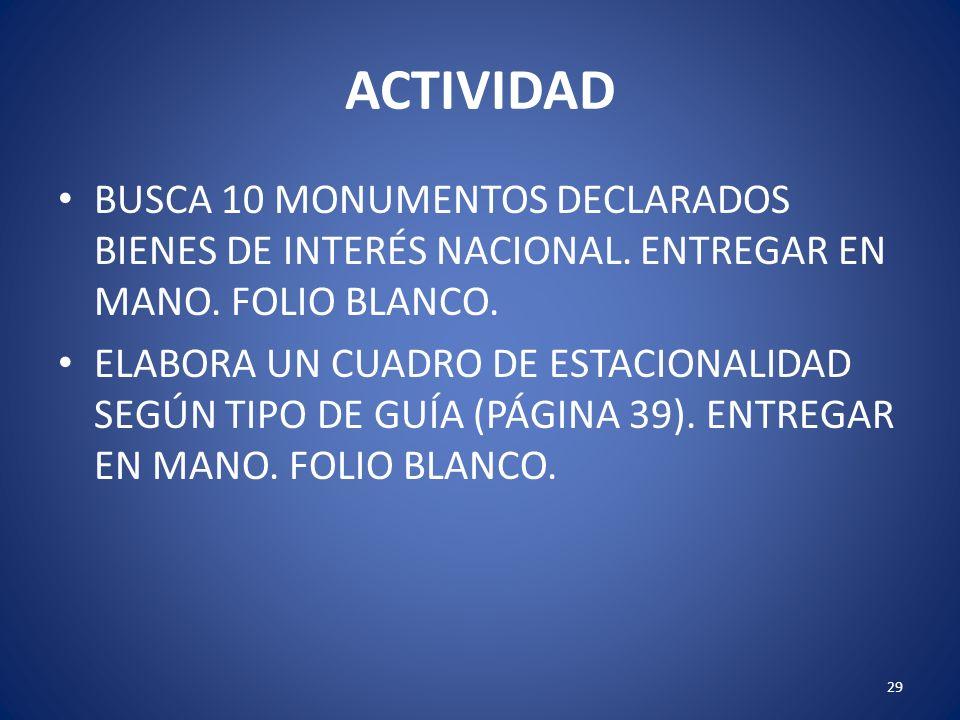 ACTIVIDAD BUSCA 10 MONUMENTOS DECLARADOS BIENES DE INTERÉS NACIONAL. ENTREGAR EN MANO. FOLIO BLANCO.