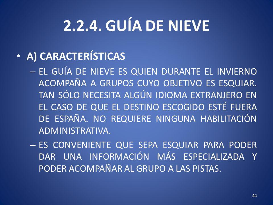2.2.4. GUÍA DE NIEVE A) CARACTERÍSTICAS