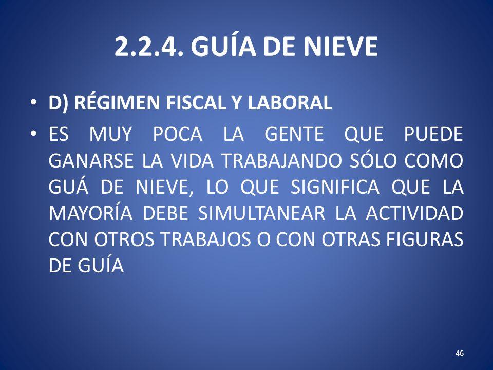 2.2.4. GUÍA DE NIEVE D) RÉGIMEN FISCAL Y LABORAL