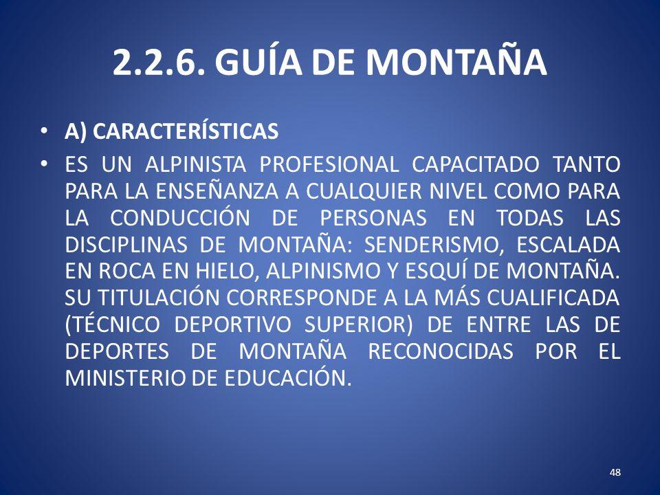 2.2.6. GUÍA DE MONTAÑA A) CARACTERÍSTICAS