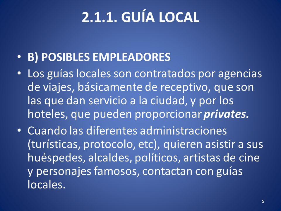 2.1.1. GUÍA LOCAL B) POSIBLES EMPLEADORES