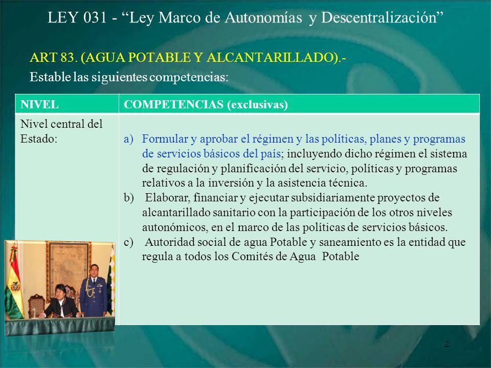 LEY 031 - Ley Marco de Autonomías y Descentralización