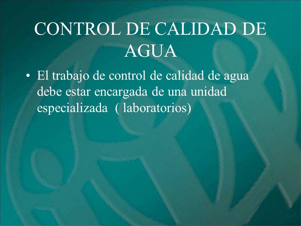 CONTROL DE CALIDAD DE AGUA
