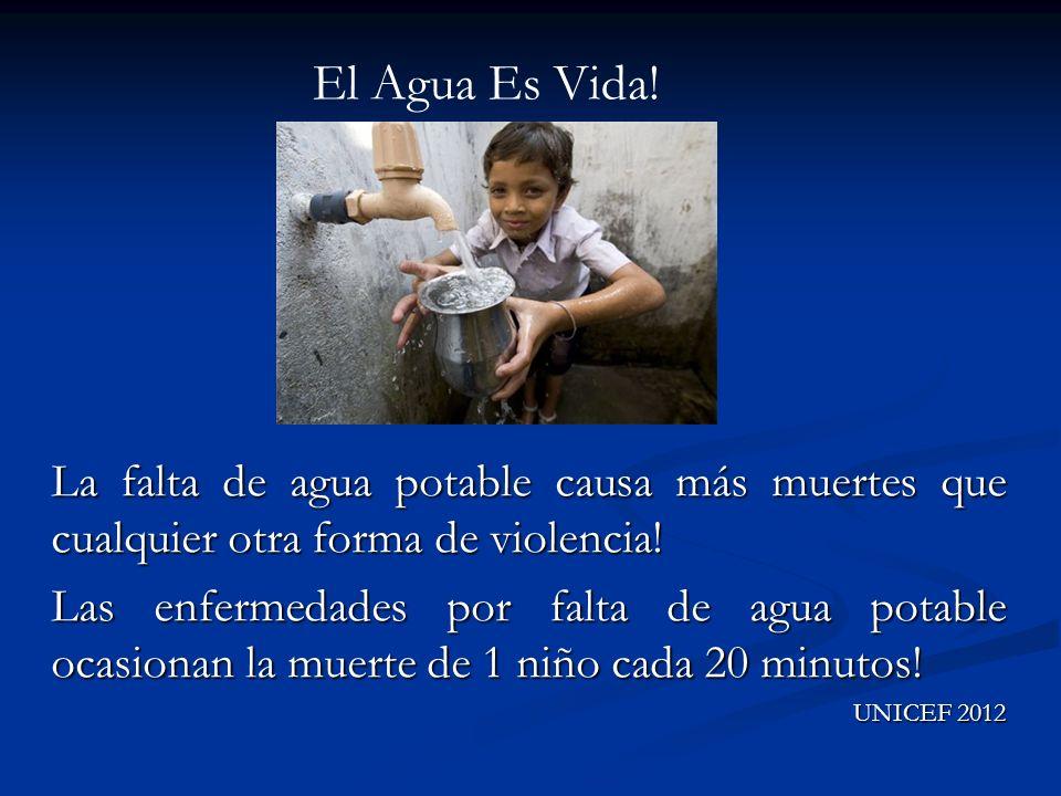 El Agua Es Vida! La falta de agua potable causa más muertes que cualquier otra forma de violencia!