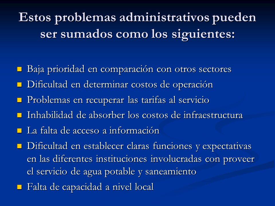 Estos problemas administrativos pueden ser sumados como los siguientes: