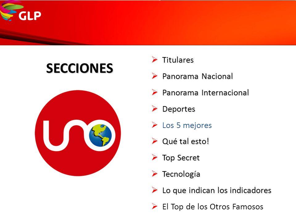 SECCIONES Titulares Panorama Nacional Panorama Internacional Deportes
