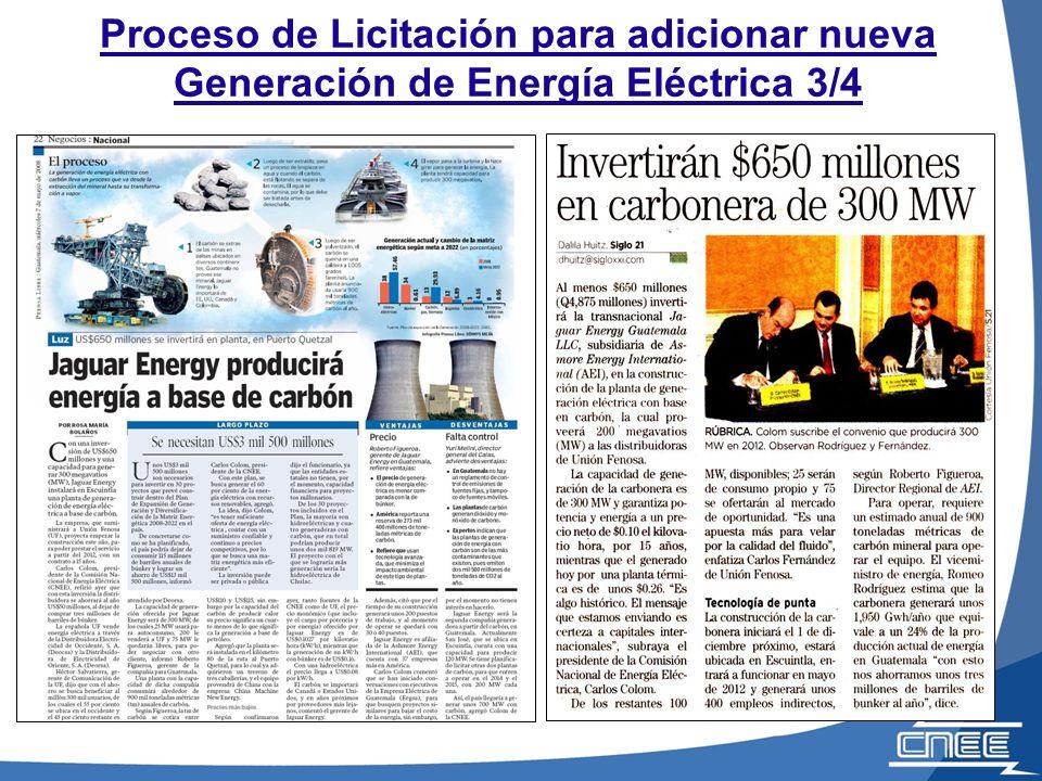 Proceso de Licitación para adicionar nueva Generación de Energía Eléctrica (2008)