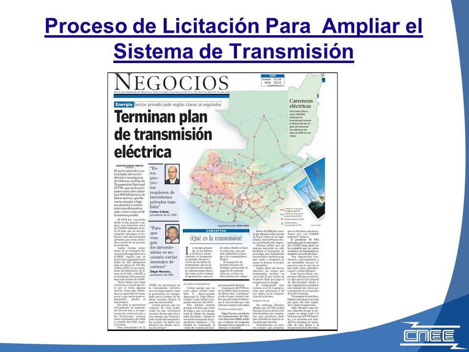 Proceso de Licitación Para Ampliar el Sistema de Transmisión