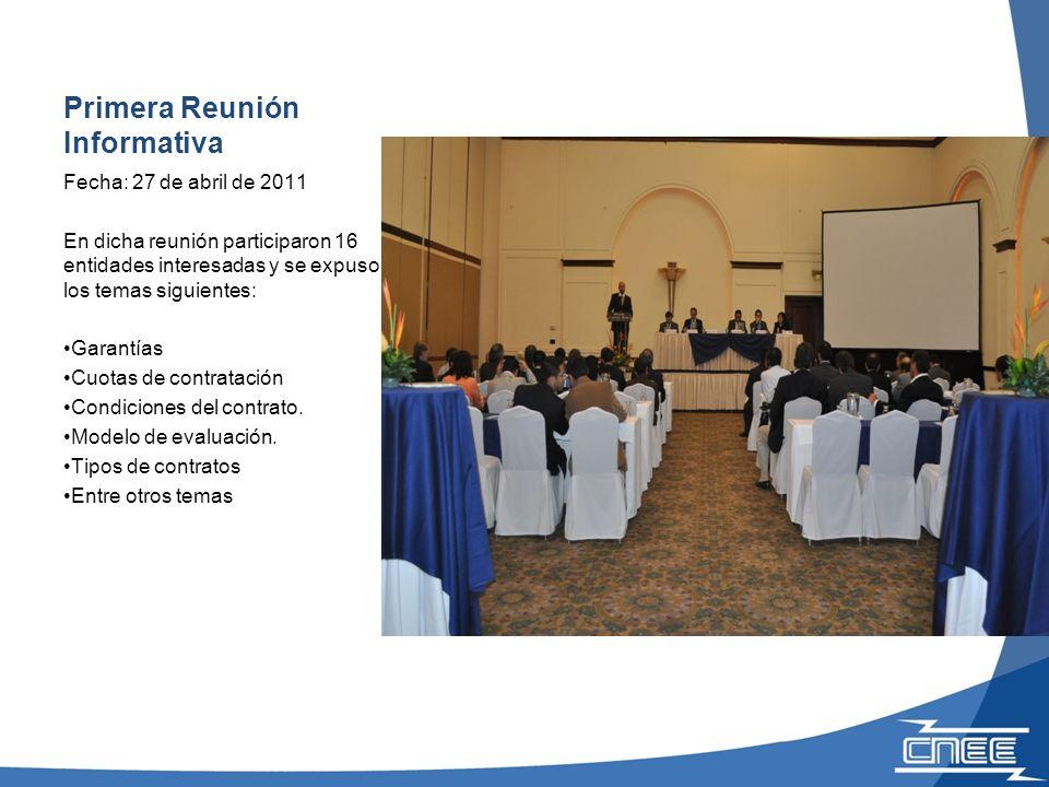 Página Web con la información de la Licitación Abierta PEG-1-2010