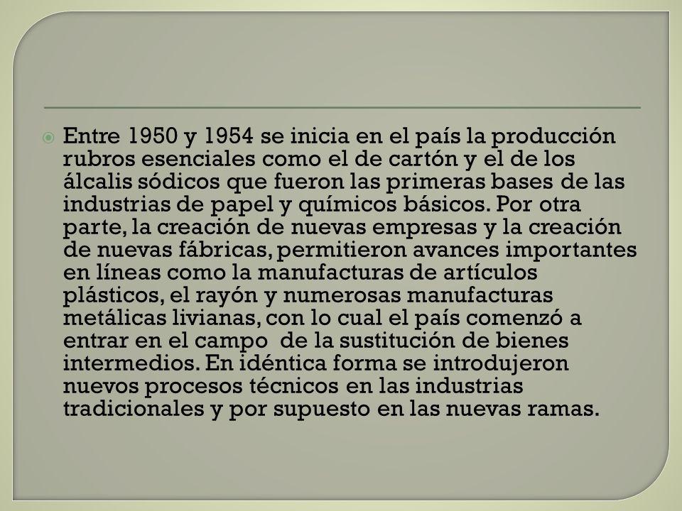 Entre 1950 y 1954 se inicia en el país la producción rubros esenciales como el de cartón y el de los álcalis sódicos que fueron las primeras bases de las industrias de papel y químicos básicos.