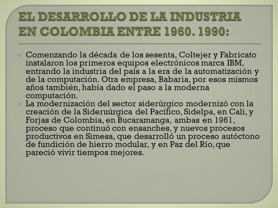 EL DESARROLLO DE LA INDUSTRIA EN COLOMBIA ENTRE 1960. 1990:
