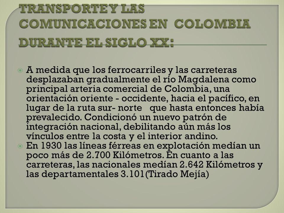 TRANSPORTE Y LAS COMUNICACIONES EN COLOMBIA DURANTE EL SIGLO XX: