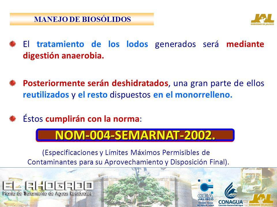 MANEJO DE BIOSÓLIDOS El tratamiento de los lodos generados será mediante digestión anaerobia.