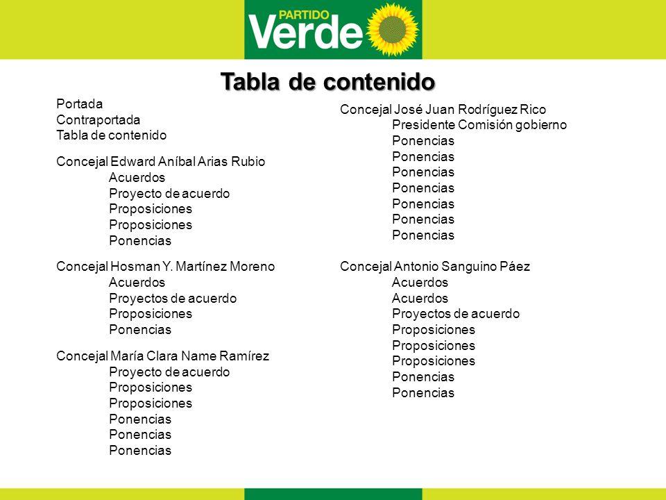 Tabla de contenido Portada Concejal José Juan Rodríguez Rico