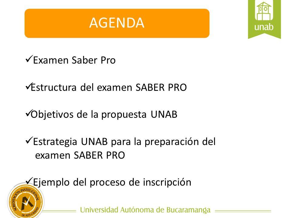 AGENDA Examen Saber Pro Estructura del examen SABER PRO