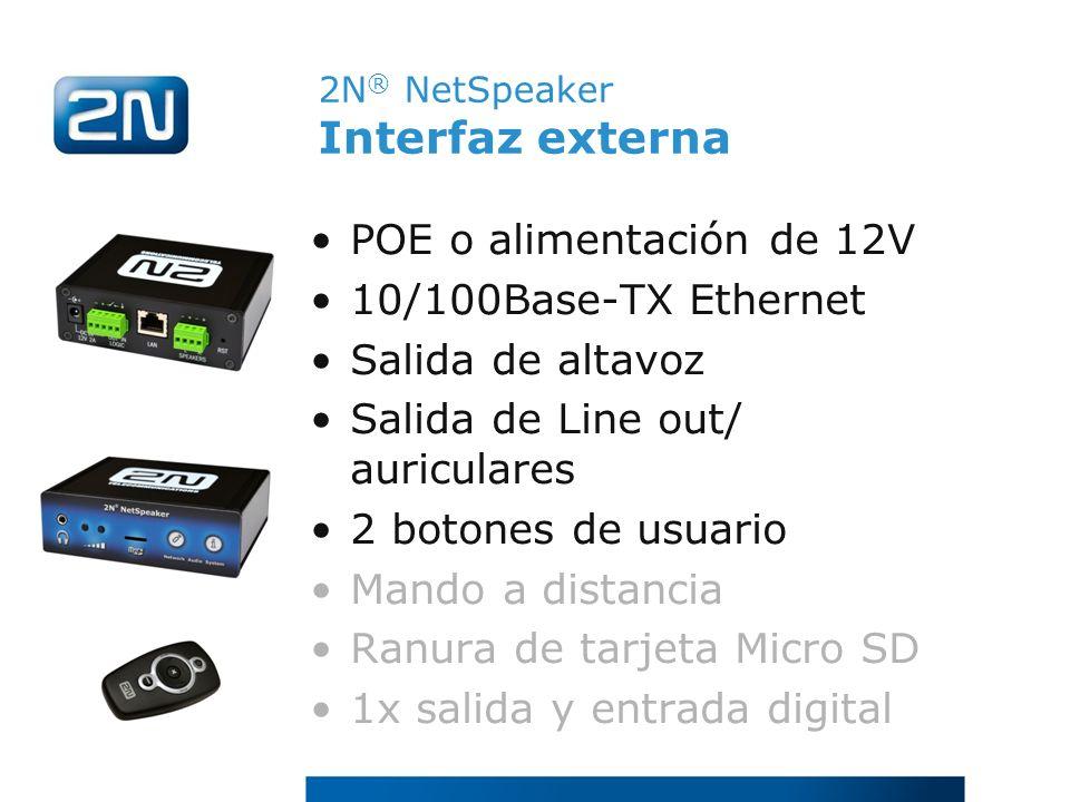 2N® NetSpeaker Interfaz externa