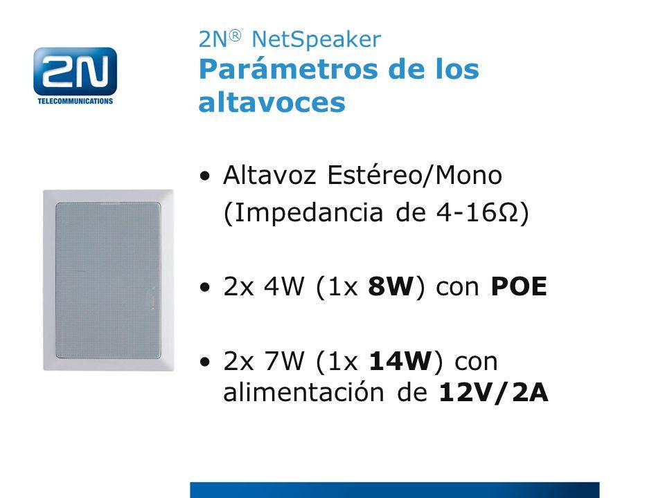 2N® NetSpeaker Parámetros de los altavoces