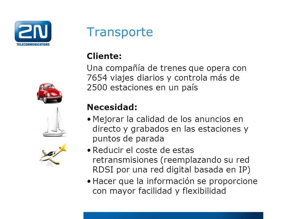 Transporte Cliente: Una compañía de trenes que opera con 7654 viajes diarios y controla más de 2500 estaciones en un país.