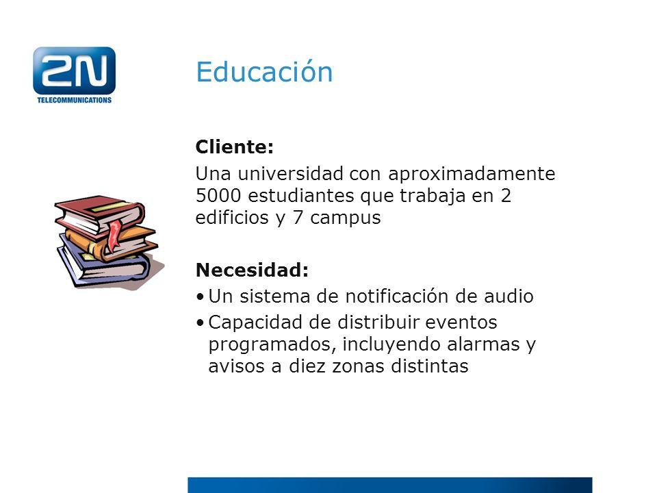 Educación Cliente: Una universidad con aproximadamente 5000 estudiantes que trabaja en 2 edificios y 7 campus.