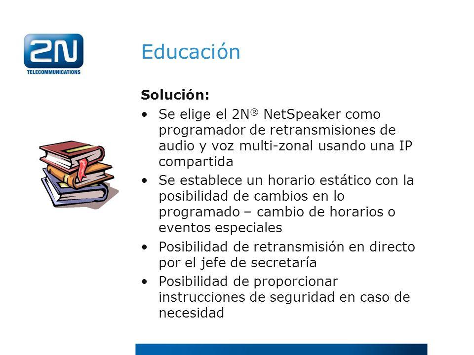 EducaciónSolución: Se elige el 2N® NetSpeaker como programador de retransmisiones de audio y voz multi-zonal usando una IP compartida.