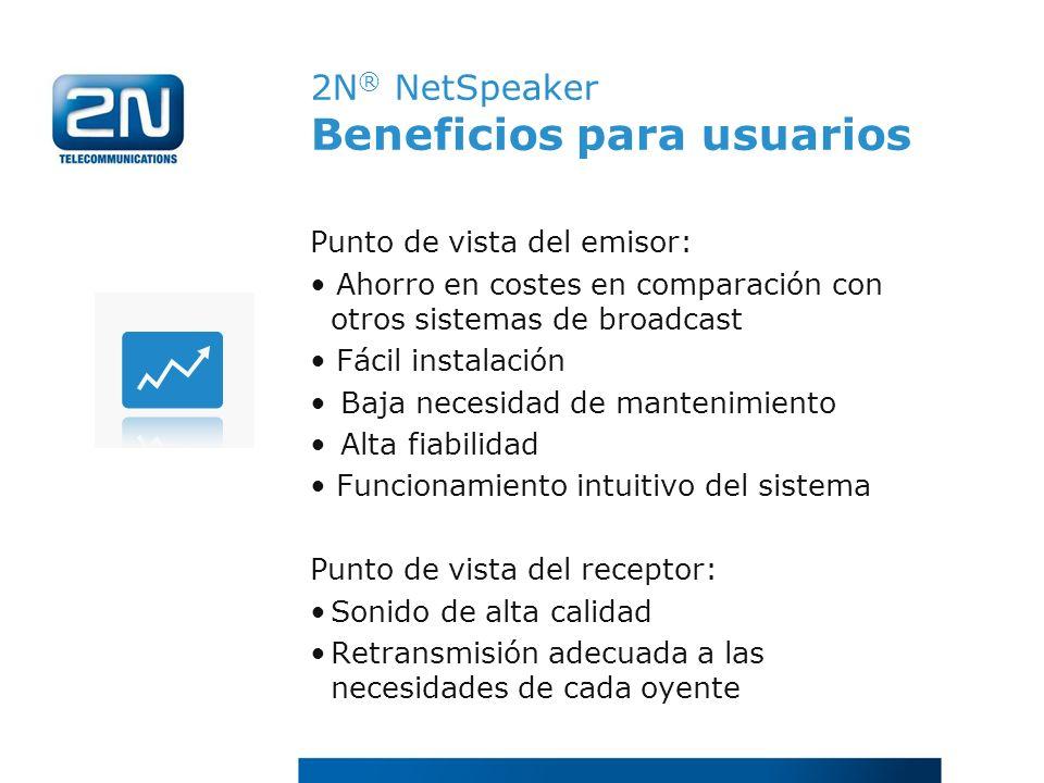 2N® NetSpeaker Beneficios para usuarios