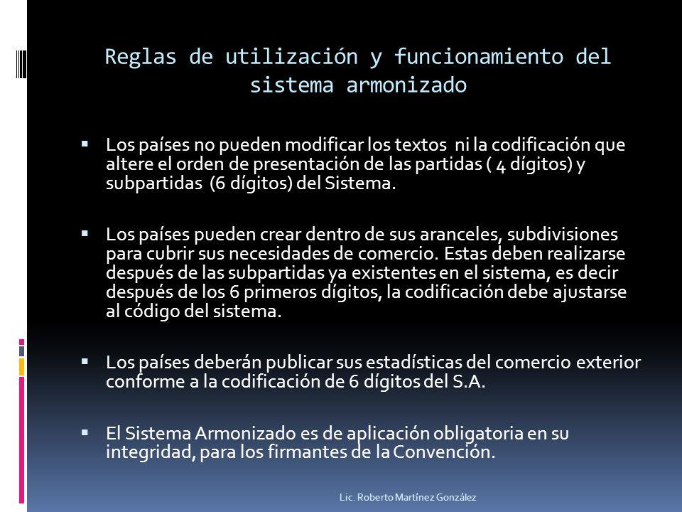 Reglas de utilización y funcionamiento del sistema armonizado