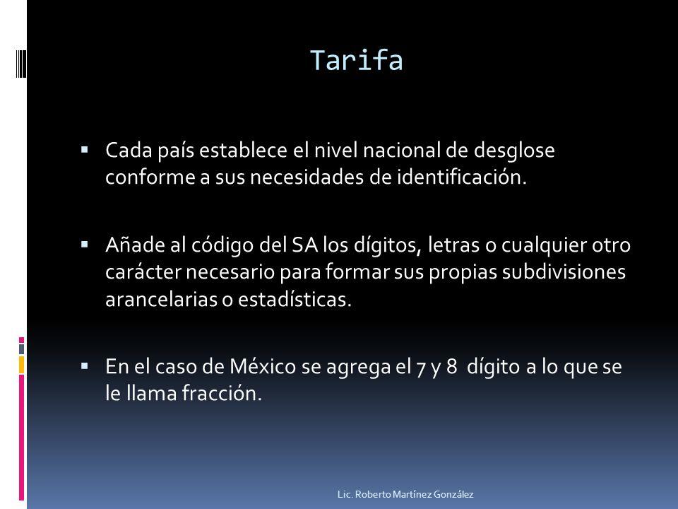 Tarifa Cada país establece el nivel nacional de desglose conforme a sus necesidades de identificación.