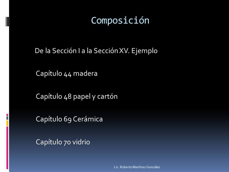 Composición De la Sección I a la Sección XV. Ejemplo Capítulo 44 madera Capítulo 48 papel y cartón Capítulo 69 Cerámica Capítulo 70 vidrio