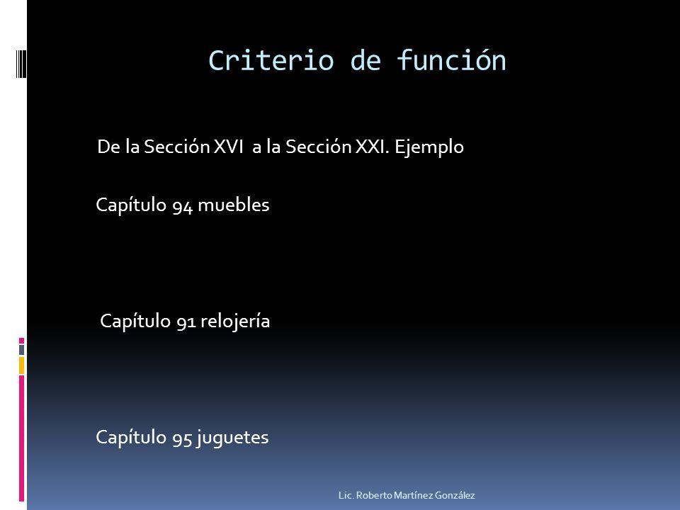 Criterio de función De la Sección XVI a la Sección XXI. Ejemplo Capítulo 94 muebles Capítulo 91 relojería Capítulo 95 juguetes