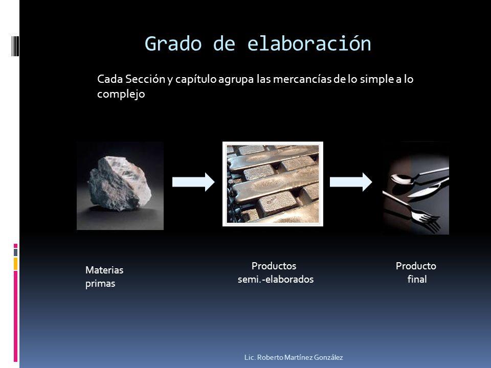 Grado de elaboración Cada Sección y capítulo agrupa las mercancías de lo simple a lo complejo. Productos.