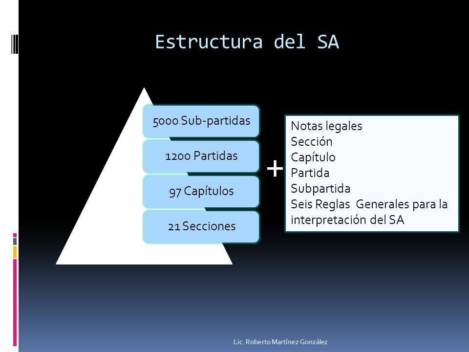 + Estructura del SA 5000 Sub-partidas 1200 Partidas 97 Capítulos