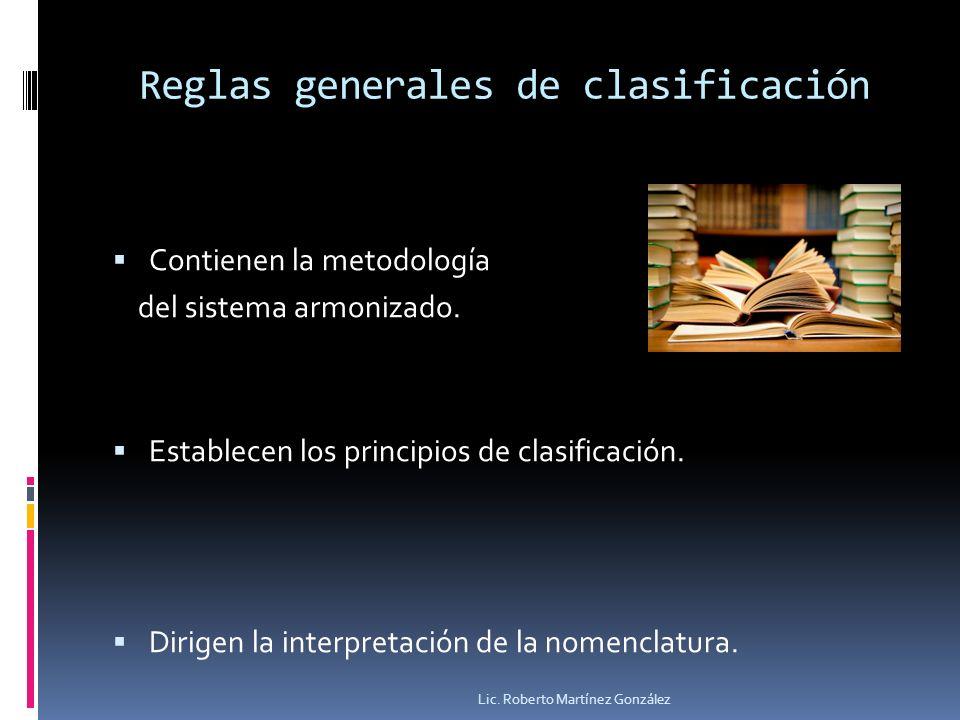 Reglas generales de clasificación