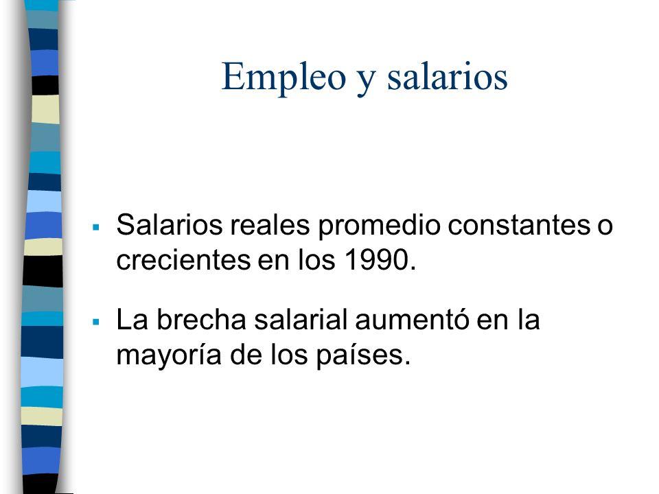 Empleo y salarios Salarios reales promedio constantes o crecientes en los 1990.