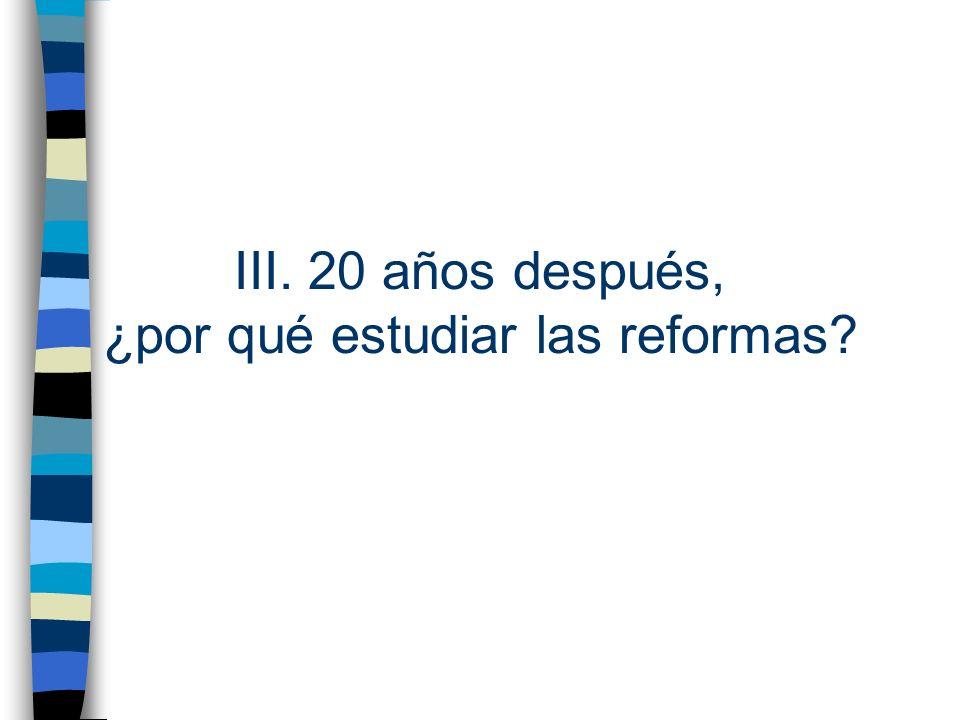 III. 20 años después, ¿por qué estudiar las reformas