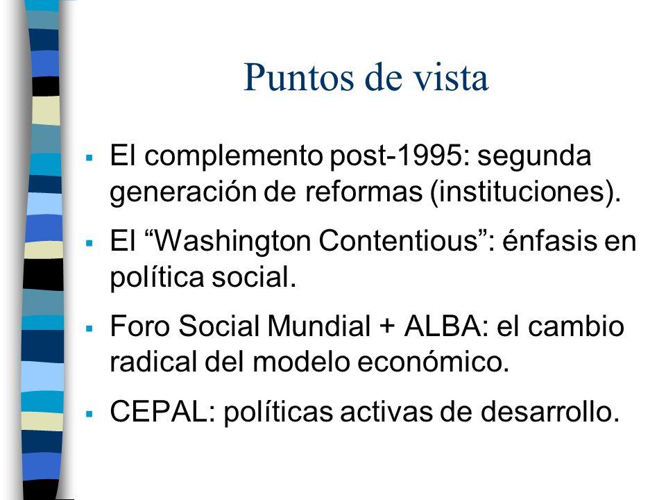 Puntos de vista El complemento post-1995: segunda generación de reformas (instituciones). El Washington Contentious : énfasis en política social.