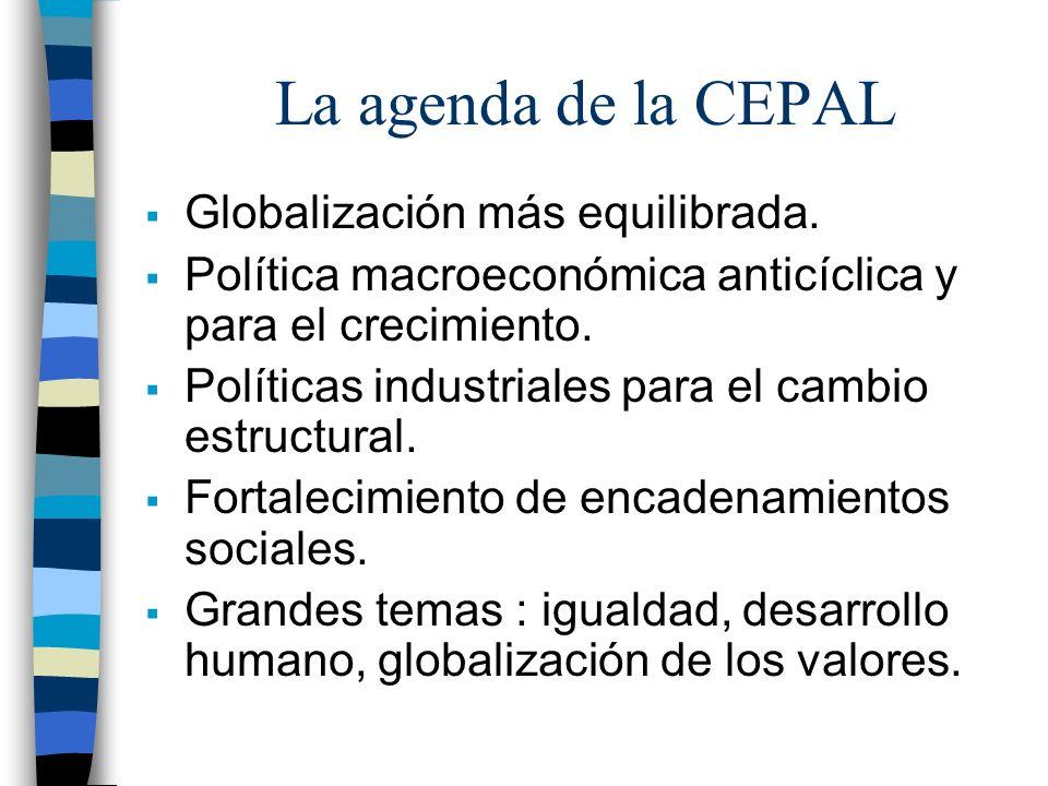 La agenda de la CEPAL Globalización más equilibrada.