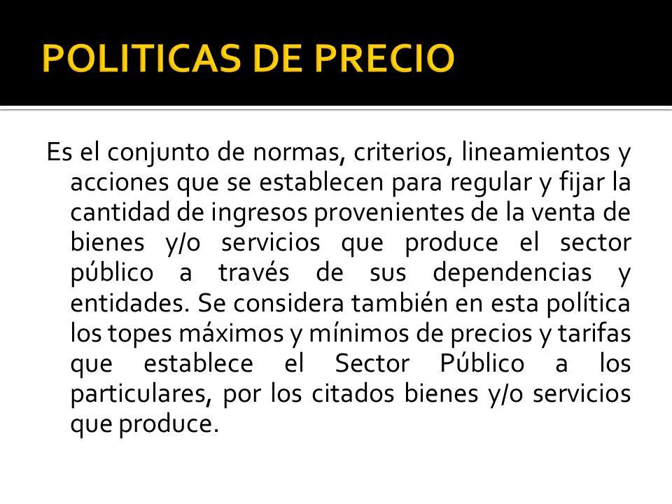 POLITICAS DE PRECIO