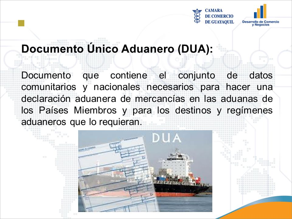 Documento Único Aduanero (DUA):