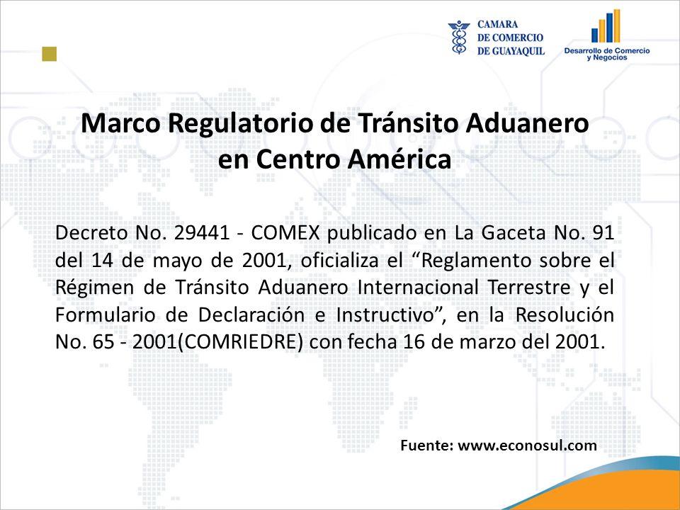 Marco Regulatorio de Tránsito Aduanero en Centro América