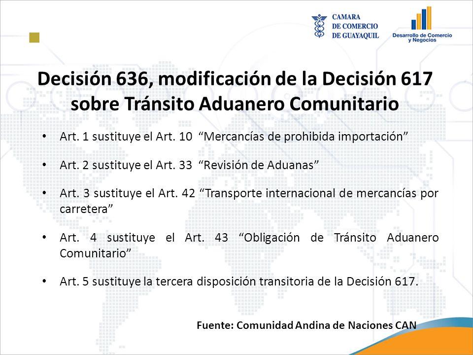 Decisión 636, modificación de la Decisión 617 sobre Tránsito Aduanero Comunitario