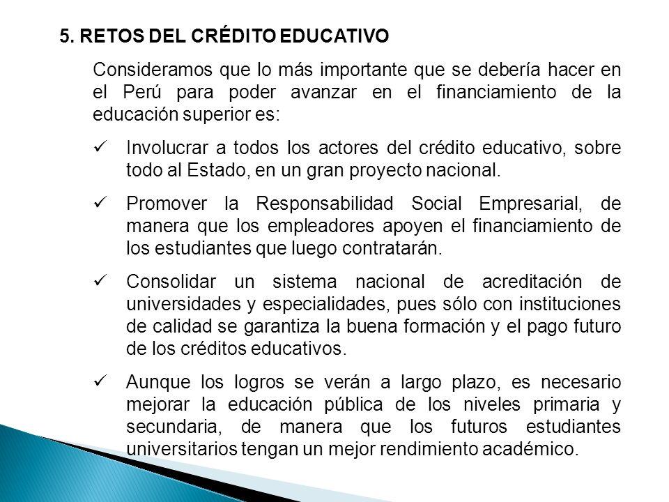 5. RETOS DEL CRÉDITO EDUCATIVO
