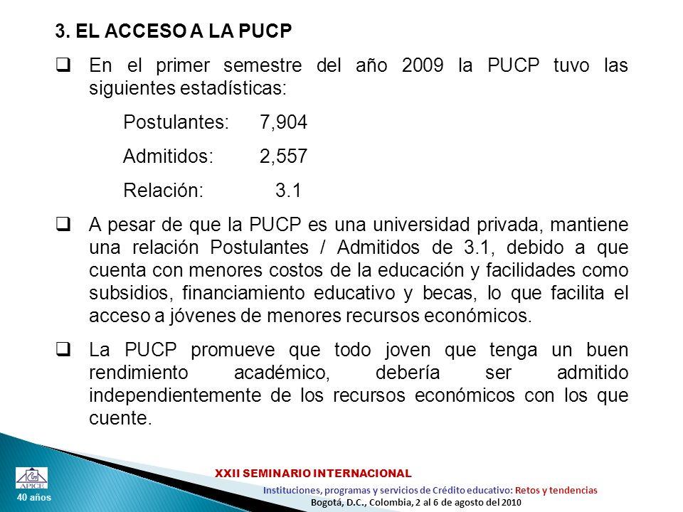 3. EL ACCESO A LA PUCPEn el primer semestre del año 2009 la PUCP tuvo las siguientes estadísticas: Postulantes: 7,904.