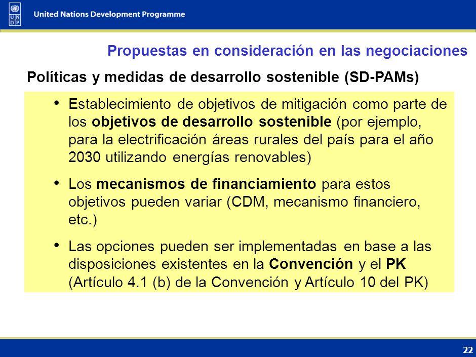 Propuestas en consideración en las negociaciones Enfoques sectoriales